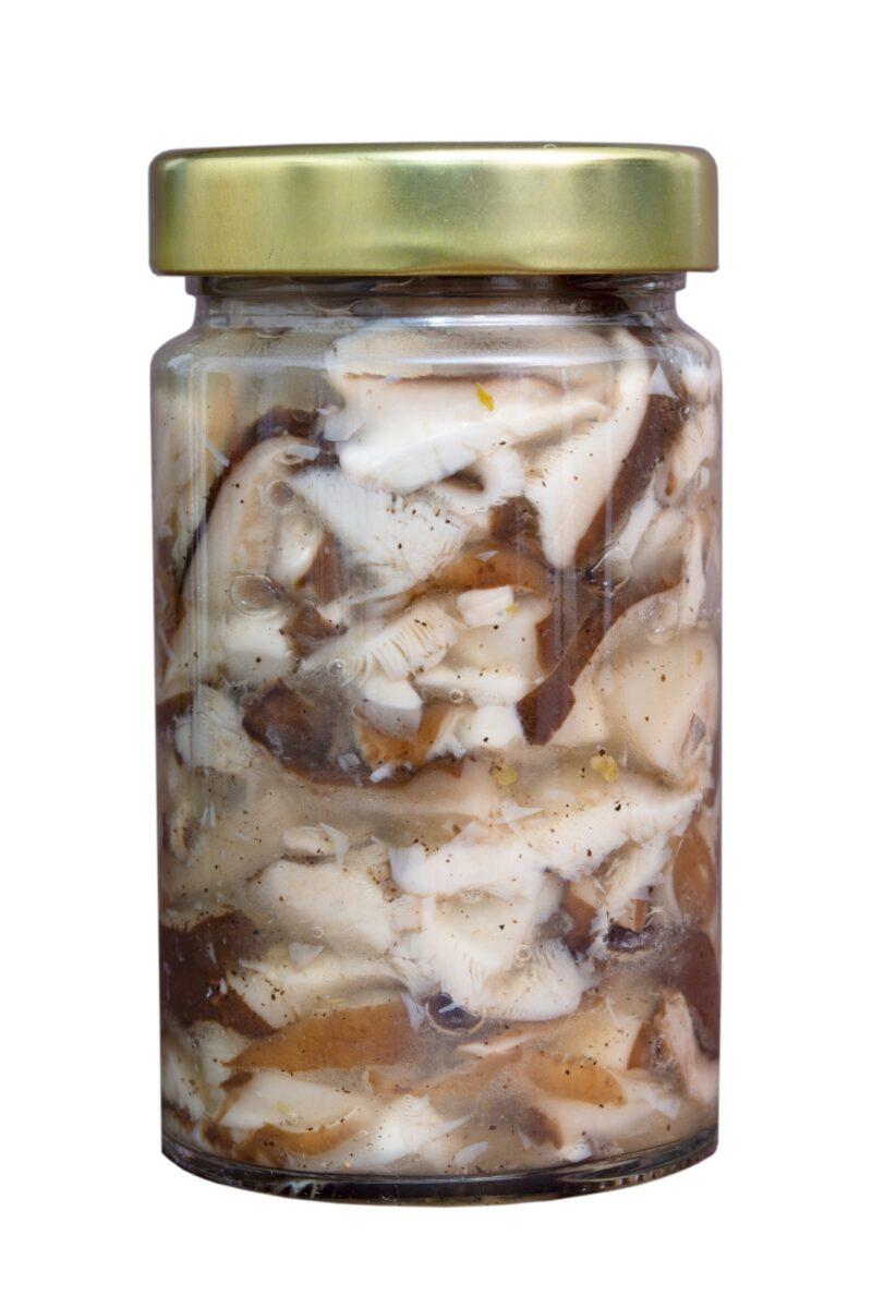 Ciuperci Shiitake conservate in apa sare si ulei